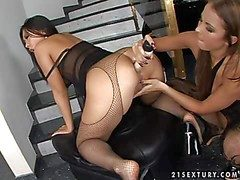 Anacreontic asian Bailey with arousing make with in fishnet pantyhose