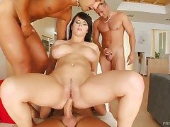Big-busted babe named Kristi gets surrounded with cocks with an increment of