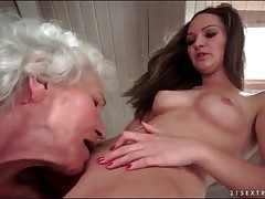 Grey haired granny chow extensively shaved young pussy