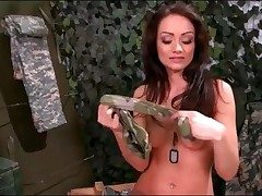 Army girl Sophie Lynx peels off from military uniform