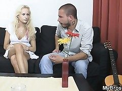 Blondie biotch cheats her BF with his bro
