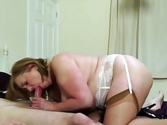 British obese mature slut Aunt Trisha doing her toyboy