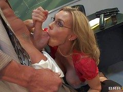 Ball sucking grown up blonde teacher Tanya Tate on every side immeasurably firm