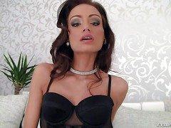 Long legged brunette Sophie Lynx in all directions crestfallen black lingerie loves