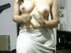 Indian Gf After Bathroom Flashing Herself Bare On